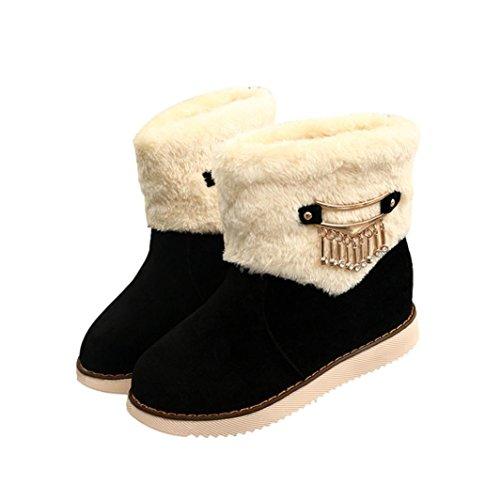 Botas Mujer,Ouneed ® Zapatos de la nieve de la alta calidad de las mujeres de las señoras de la manera calientes planas de la nieve Negro