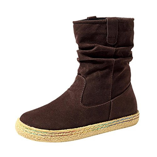 Ugg Quality Boots High (Creazy Ladies Womens Female Suede Biker Ankle Trim Flat Ankle Warm Martin Boots Shoes (Brown, 40))