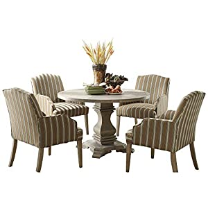 Edelbrock French Decor 5PC Round Dining Set Table & 4 Chair in Rustic Weathered