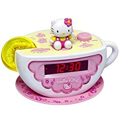 Hello Kitty Tea Cup Alarm Clock with AM-FM Radio - Lemon Slice Night Light By Sanrio