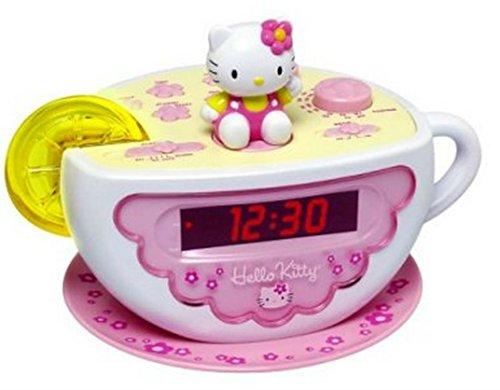 (Hello Kitty Tea Cup Alarm Clock with AM-FM Radio - Lemon Slice Night Light By Sanrio)