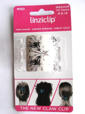 Linziclip Midi The Ultimate Claw Clip White with Flowers