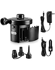 Electric Air Pump, Dr.meter HT-401 Battery Air Mattress Pump Quick-Fill Inflator/Deflator with 3 Nozzles for Camping Inflatables Raft Bed Boat Pool Toy Batteries/AC 110-120V/ DC 12V Powered