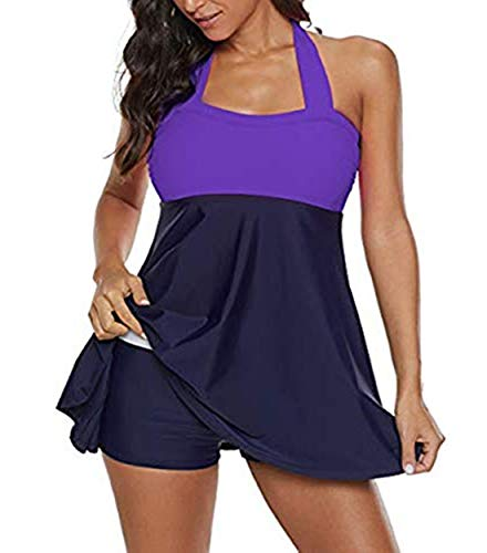 Century Star Women's One Or Two Piece Long Torso Plus Size Swimdress Frilly Tummy Control Bathing Suits Purple/1pc X-Large (fits like US 12-14) - Purple Long Beanie