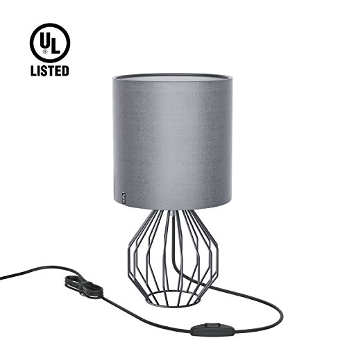 Aglaia Desk Lamp, Nightstand Lamp, Bedside Minimalist Fabric Table Lamp, Modern Silver Chrome Metal Basket Cage Style with a Silver Gray Fabric Shade and 4W LED Bulb [Warm (Lamp Geometric Table Lamp)