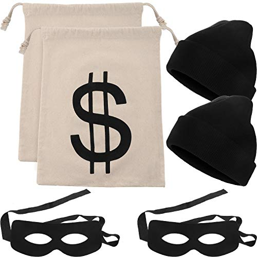 Money Halloween Costumes (6 Pieces Robber Costume Set Include Canvas Dollar Sign Money Bags Bandit Eye Mask Knit Beanie Cap for Halloween Cosplay Burglar Theme)