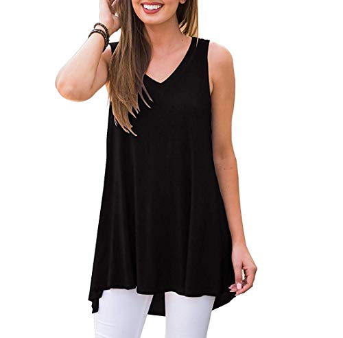 Akihoo Women Summer Sleeveless V Neck T Shirt Casual Simple Plain Loose Tank Tops Shirts 08-Black M