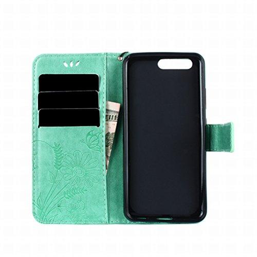 LEMORRY Huawei P10 Case Leather Flip Wallet Pouch Slim Fit Bumper Protection Magnetic Strap Stand Card Slot Soft TPU Cover Huawei P10 / VTR-L09 / VTR-L29, Amor de la Flor (Rosa) Verde