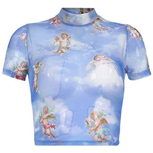 Malbaba Women Fashion Casual Short Sleeve Turtleneck Print Short Tops T-Shirt Blouse Blue by Malbaba Women Blouse (Image #4)