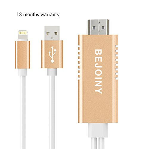 IPhone Lightning to HDMI Adapter Lightning Digital AV HDTV Projector Cable 1080P Aluminum Alloy shell Plug and Play for iPad iPod iPhone BEJOINY (GOLD)
