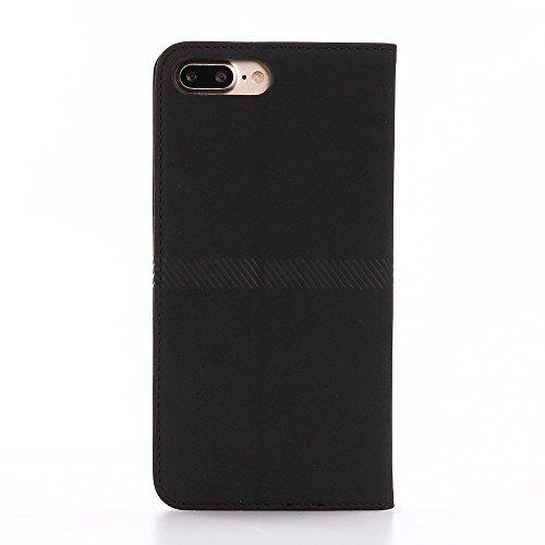 Retro Leather Flip Wallet Stand Tasche Hüllen Schutzhülle Case für iPhone 7 Plus 5.5 inch - schwarz