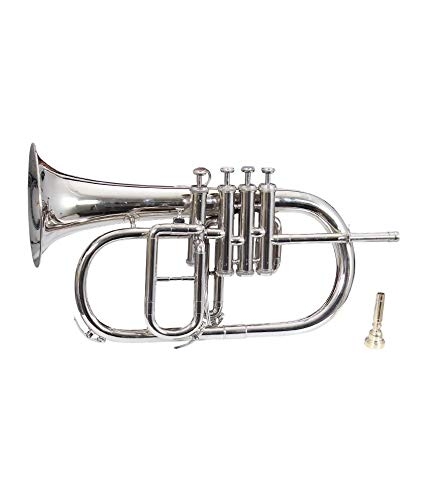 BRAND NEW NICKEL PLATED Bb FLAT 4 VALVE FLUGEL HORN +FREE HARD CASE+MOUTHIPICE (Trumpet Flugelhorn Case)
