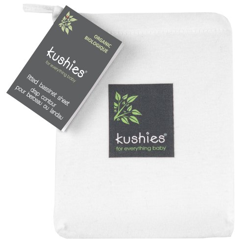 Kushies Organic Jersey Bassinet Fitted Sheet, White