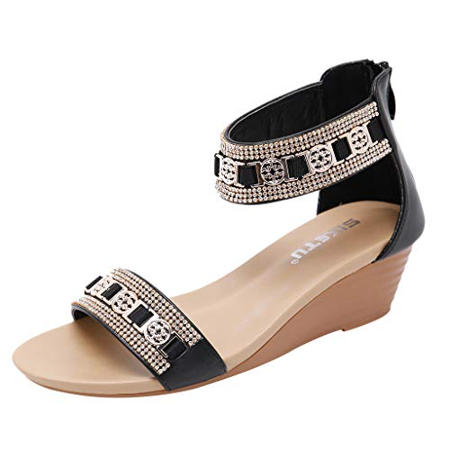 (Sunhusing Bohemian Metal Rhinestone Decorative Wedge Heel Large Size Comfortable Roman Shoes Women's Sandals Black)