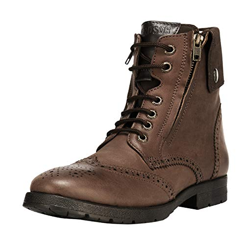 (Liberty Men's Genuine Leather Lace Up Closure Fashion Ankle Boots 1.5 inch Heels (12 M US, Brown Wingtip))