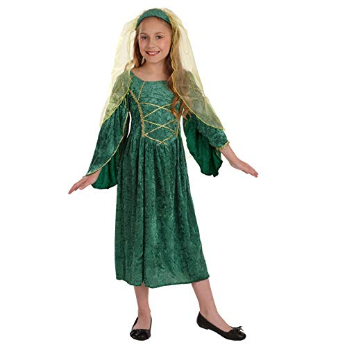 Girls Tudor Princess Costume Kids Medieval Queen Green Gown - Medium