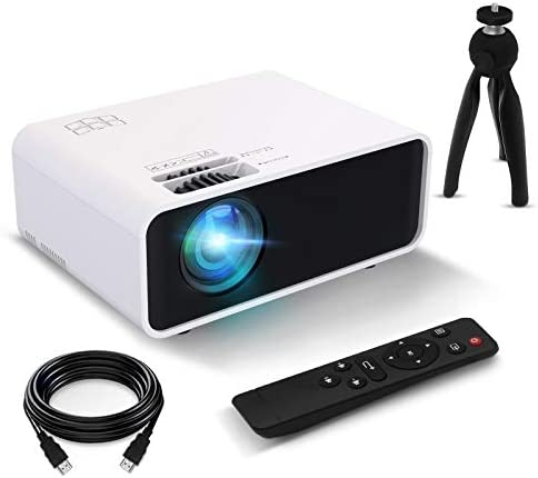 Mini Projector, FUNCILIT Video Projector Portable Outdoor Movie Projector, 4600 lux,55000 Hours LED,Full HD 1080P and 200″ Supported, Compatible with TV/PC/PS4 via HDMI,VGA,TF,AV & USB[2021 Version]