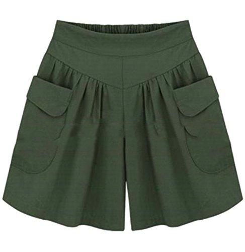 Cromoncent Womens Sports High Waist Plus Size Wide Leg Pleated Pocket Shorts Army Green M