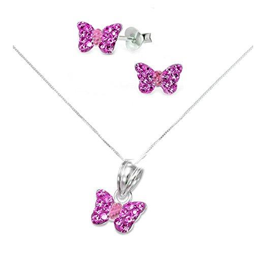 SL-Silver - Conjunto de pendientes, cadena y colgante con forma de mariposa de plata de ley 925 y cristal en cajita de regalo