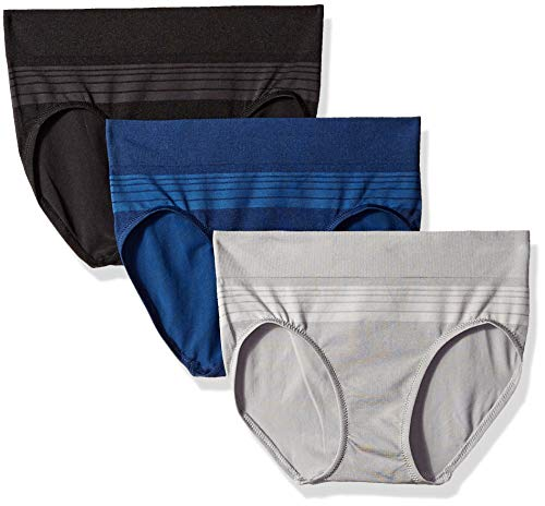 Warner's Women's Blissful Benefits Seamless Hipster Pany 3 Pack, Black/Navy Ink/Smoked Pearl, M ()