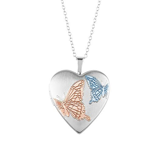 Sterling Silver Heart Shape Fashion Butterfly Locket Pendant with Chain for Women, 16MM