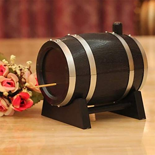 Wffo Creative &Functional Toothpick Box Container Dispenser Holder Wine Barrel Shape Automatic Plastic (A)
