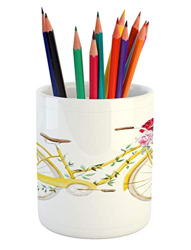 Ambesonne Vintage Pencil Pen Holder, Watercolor Style Effect Bicycle with Leaves and Flowers in The Basket Pattern, Printed Ceramic Pencil Pen Holder for Desk Office Accessory, White and Yellow