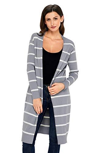 Cardigan Lungo Donna Autunno Eleganti Stripe Maniche Lunghe Aperto A Forcella Mode di marca Giacca A Maglia Casual Fashion Eleganti Comodo Maglia Fine Giacche Outerwear (Color : Grau, Size : XL)