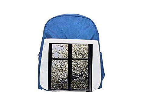 99f7300d5ea3 White flowers on a tree Östergötland Sweden printed kid s blue backpack