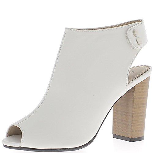 Low-boots blancs ouverts devant et derrière à talon épais de 10cm