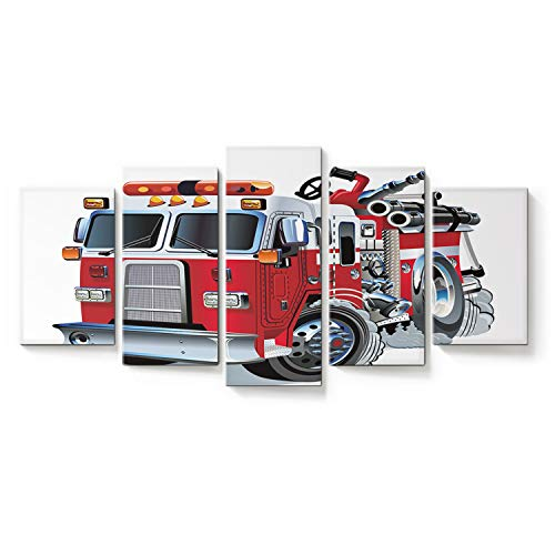 Seven Sunshine 5 Panel Wall Art Painting Cute Cartoon Fire Truck Abstract Oil Paintings Poster Print for Home Decorations Bedroom Living Room Kitchen Office Decor Framed Art Ready to Hang