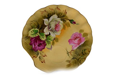 Vintage Lefton China Hand Painted Snack Plate Only Rose Trimmed in Gold