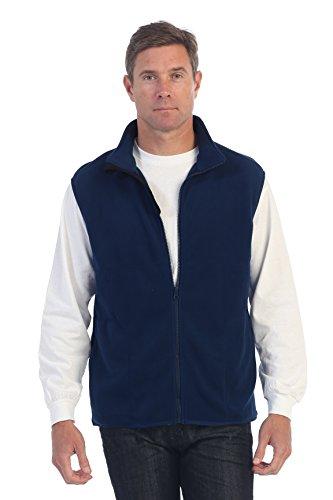Gioberti Men's Full Zipper Polar Fleece Vest, Navy, X-Large