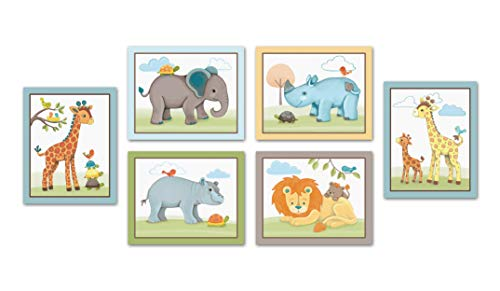 "Little Pig Studios Giraffe Safari, Jungle Animals Nursery Wall Art, Decor. Kids Bedroom Wall Art Collection ((6) Set of Six, 8""x10"")"