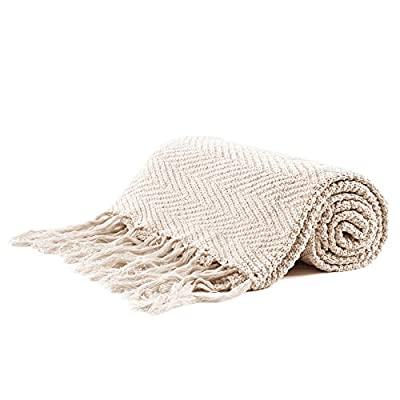 """Longhui bedding Fringe Knit Cotton Throw Blanket, 50 x 63 Inches Decorative Knitted Cover with 6 Inches Tassels, Bonus Laundry Bag - 3.12lb Weight, Couch Blankets, Cream - ELEGANT KNITTED BLANKET: Beautiful knitting is what gives our throw blanket fancy touches of detailed sophistication. The woven pattern brings a decorative element to any sofa, couch, bed, recliner or sitting bench. BIG ENOUGH FOR SNUGGLING: Measuring 50""""x63"""", the knit blanket is large enough to cover two people. Spend the night in watching Netflix beside your significant other blanketed by the warmth of this knitted throw! HEAVY WEIGHT 100% COTTON: Weighing in at 3.12 pounds, our signature knitted throw blanket is weighted to deliver unparalleled comfort. It's soft & cozy but also heavy enough to keep the chill out on cold winter days. - blankets-throws, bedroom-sheets-comforters, bedroom - 41CnjTMUt2L. SS400  -"""