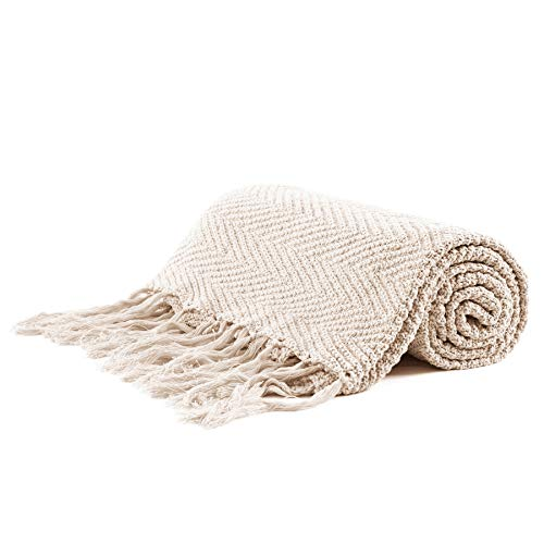 Longhui bedding Fringe Knit Cotton Throw Blanket, 60 x 80 Inches Decorative Knitted Cover with 6 Inch Tassels, Bonus Laundry Bag - 4.8lb Weight, Bed Blankets, Cream