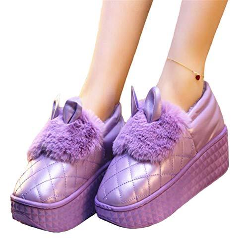 De ResbalóN Púrpura Plataforma Las De CuñAs Impermeable Mujer Lindo Casa Invierno Mujeres Mocasines Zapatos Aire para Conejo Orejas Libre Al En xwzxPRrC