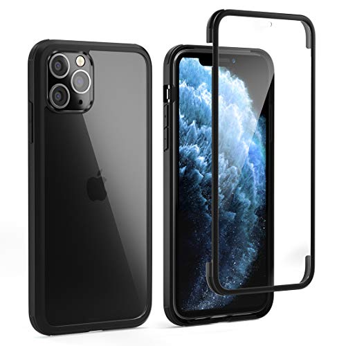 "LOFTer 360 Case Compatible with iPhone 11 Pro Max Case with Tempered Glass Built in Screen Protector Transparent Clear Full Body Protection Slim Hard Cover for iPhone 11 Pro Max 6.5"" Black"