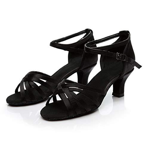 Baile De 1 Latino Mujer Negro Luckycat Alto Satén Para Latinos Zapatos Tacón Baile medio zapatos R5nCcwqE