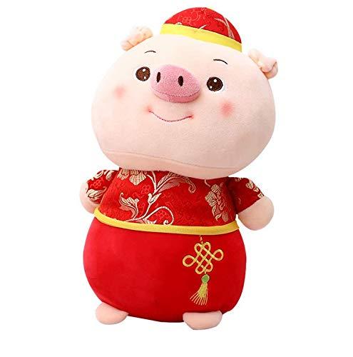 Hoocozi 2019 Chinese New Year Decoration Pig Plush Stuffed Animal Toys Spring Festival Gift - 9.8 Inches -
