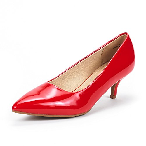 - DREAM PAIRS Women's Moda Red Pat Low Heel D'Orsay Pointed Toe Pump Shoes Size 9.5 M US