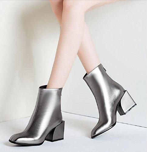 scamosciata in Tinta Piazza unita 34 spessa con stivali in corto scarpetta pelle silver moda Capo classico grassetto qwrX8r4xt