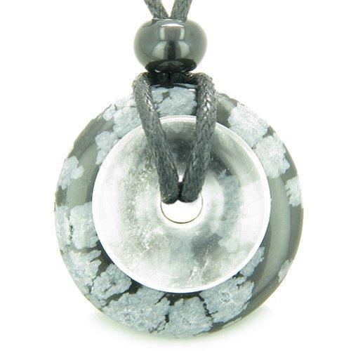 Snowflake Obsidian Pendant - BestAmulets Amulet Magic Donuts Snowflake Obsidian Quartz Evil Eye Protection Pendant Necklace