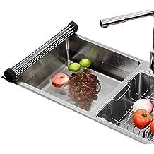 Roll-up dish drying rack Sink drain rack Washbasin drain basket Stainless steel Kitchen Wash basket Drain drain rack-B