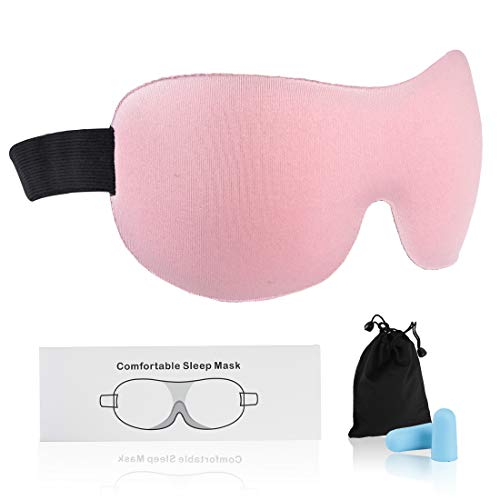 Sleep Eye Mask for Men Women, Fasoar 3D Contoured Cup Sleeping Mask & Blindfold with Ear Plug Travel Pouch, Concave Molded Night, Block Out Light, Soft Comfort Eye Shade Cover for Yoga Meditation Pink