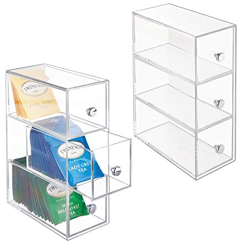 - mDesign Plastic Kitchen Pantry, Cabinet, Countertop Organizer Storage Station with 3 Drawers for Coffee, Tea, Sugar Packets, Sweeteners, Creamers, Drink Pods, Packets - 2 Pack - Clear