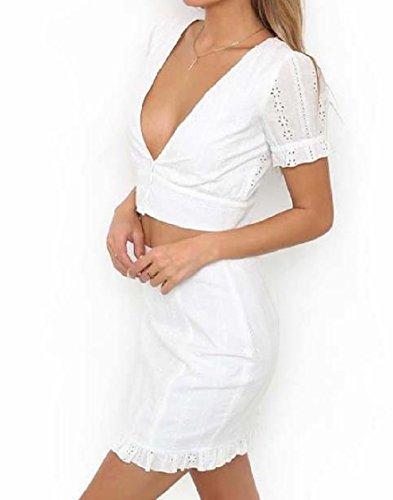 Coolred-femmes Brodé Jupe Sexy Solide De Couleur Silm Bouton 2-pièce De Fermeture Robes À Manches Courtes Blanc