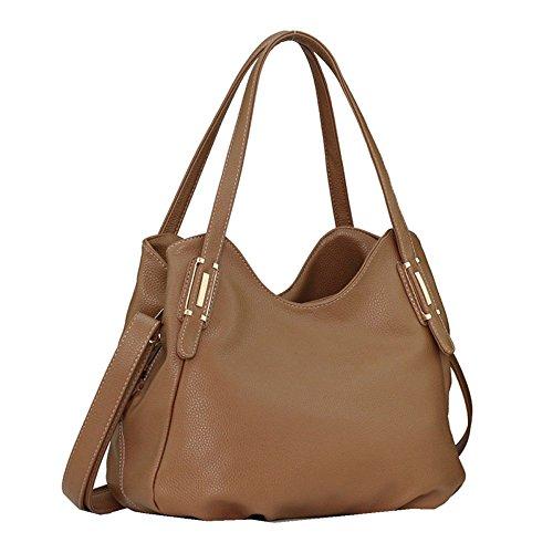YUHEQI Womens Multi Pocket Casual Sac à Main Sac De Voyage Messenger Cross Body Bag Kaki