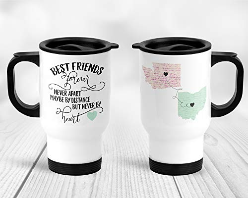 - Best Friends Forever Never Apart State Long Distance Stainless Steel Travel Mug with Handle and Lid