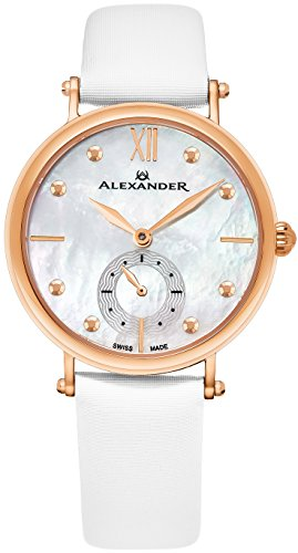 Alexander Monarch Roxana White Mother of Pearl Large Face Stainless Steel Plated Rose Gold Watch for Women - Swiss Quartz White Satin Leather Band Elegant Ladies Dress Watch -